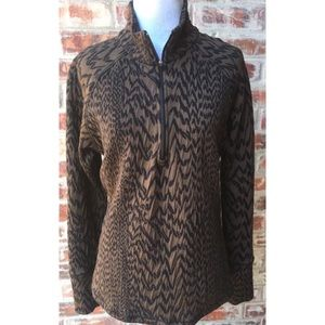Lucy 1/4 Zip Pullover Animal Print Large Jacket